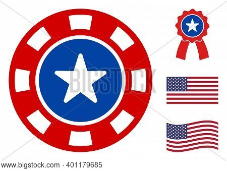 Casino Icon In Blue And Red Colors With Stars. Casino Illustration Style Uses American Official Colo