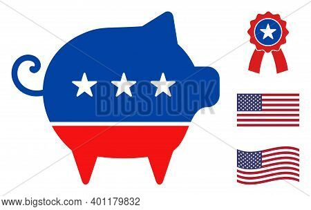 Swine Icon In Blue And Red Colors With Stars. Swine Illustration Style Uses American Official Colors