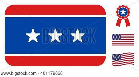 Access Card Icon In Blue And Red Colors With Stars. Access Card Illustration Style Uses American Off