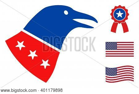 Crow Head Icon In Blue And Red Colors With Stars. Crow Head Illustration Style Uses American Officia