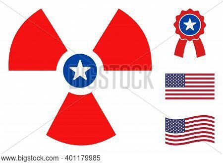 Atomic Logo Icon In Blue And Red Colors With Stars. Atomic Logo Illustration Style Uses American Off