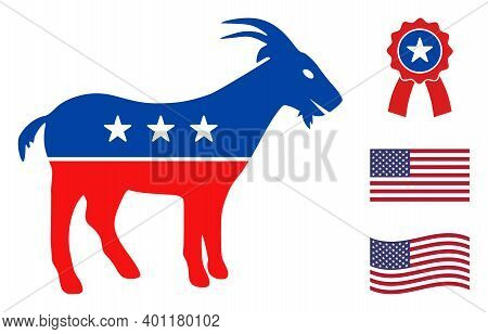 Goat Icon In Blue And Red Colors With Stars. Goat Illustration Style Uses American Official Colors O