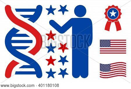 Genome Engineer Icon In Blue And Red Colors With Stars. Genome Engineer Illustration Style Uses Amer