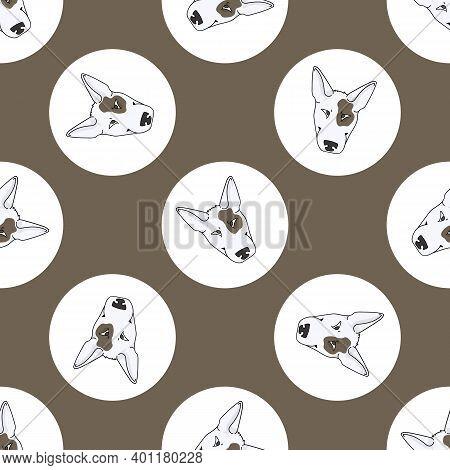 Hand Drawn Cute Bull Terrier Dog Face Breed In Polka Dot Seamless Vector Pattern. Purebread Pedigree