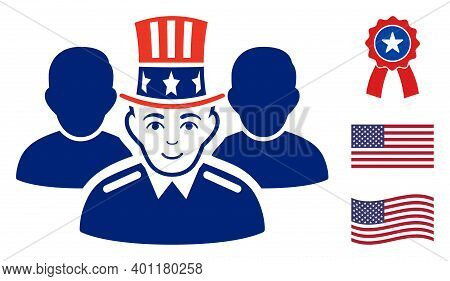 Uncle Sam Team Icon In Blue And Red Colors With Stars. Uncle Sam Team Illustration Style Uses Americ