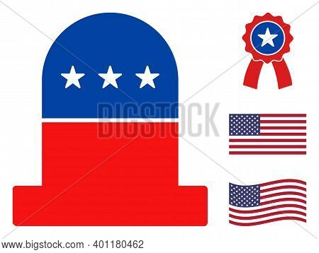 Cemetery Icon In Blue And Red Colors With Stars. Cemetery Illustration Style Uses American Official