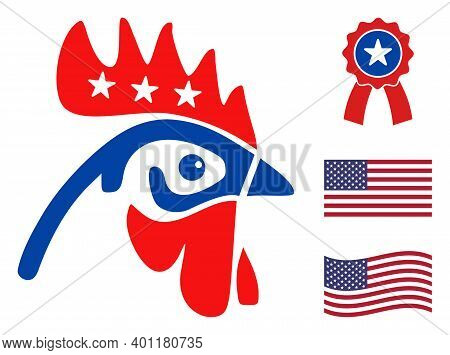 Rooster Head Icon In Blue And Red Colors With Stars. Rooster Head Illustration Style Uses American O