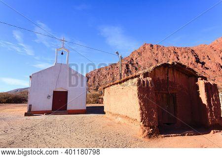 Little Church From Bolivian Village,bolivia.quebrada De Palmira Area.bolivian Landscape