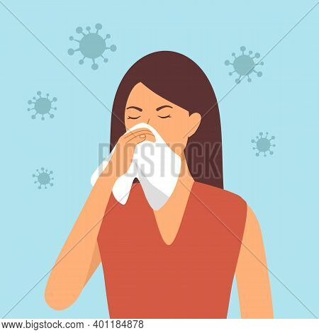 A Woman Cover Her Sneeze With Handkerchief Vector Illustration. Sneezing Female With Virus Around. C