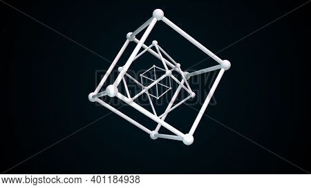 Cubic Constructions From The Crystal Lattice With Atoms In The Nodes. 3d Rendering Of Atom Surface M