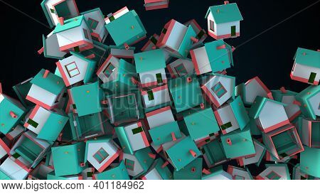 Many Falling Houses, Computer Generated. Oversupply In The Real Estate Market. 3d Rendering Of Comer