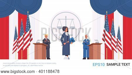 Judge Woman Standing In Front Of Men Republican And Democrat United States Presidential Election Deb