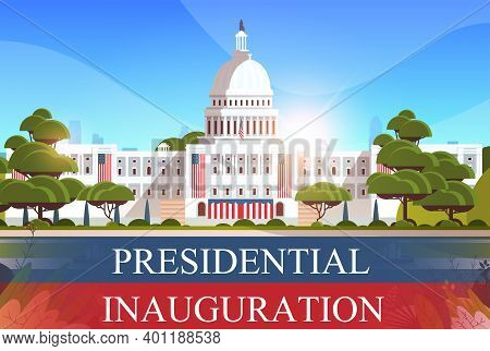Capitol Building Washington D.c. Usa Presidential Inauguration Day Celebration Concept Greeting Card