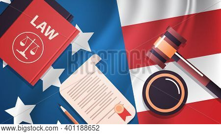 Gavel And Judge Book On Usa Flag American Presidential Inauguration Day Celebration Concept Greeting