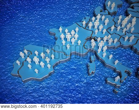 3d Little People Standing On The Map Of Europe. 3d Illustration.