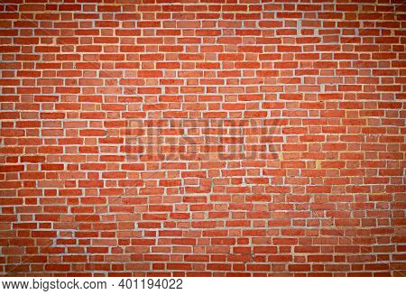 Old Red Brick Wall Vintage Texture For Wallpaper Design. Grunge Stonewall Background For Text Or Ima