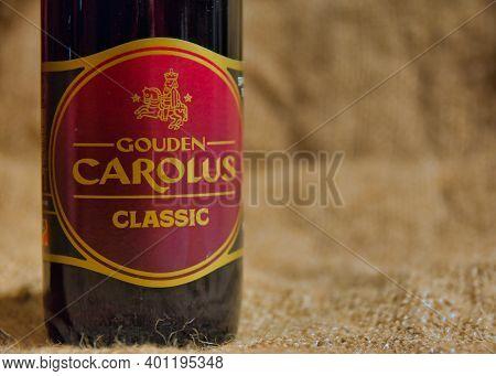 Gouden Carolus Classic Belgian Speciality Beer From Brewery Het Anker. Selective Focus.