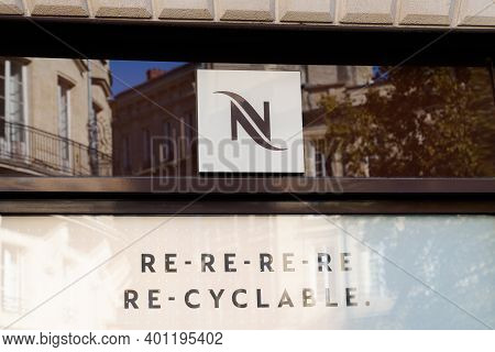 Bordeaux , Aquitaine  France - 12 25 2020 : Nespresso Sign Text And Logo Recyclable Dose Store Brand