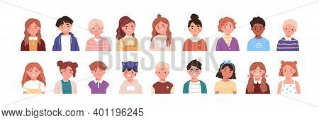Set Of Children Avatars. Bundle Of Smiling Faces Of Boys And Girls With Different Hairstyles, Skin C
