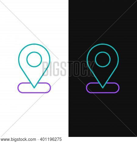 Line Map Pin Icon Isolated On White And Black Background. Navigation, Pointer, Location, Map, Gps, D