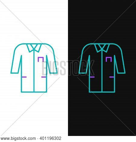 Line Laboratory Uniform Icon Isolated On White And Black Background. Gown For Pharmaceutical Researc