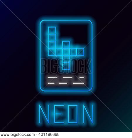 Glowing Neon Line Crossword Icon Isolated On Black Background. Colorful Outline Concept. Vector