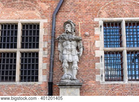 Archaic Warrior Statue At The Great Arsenal In Gdansk, Poland
