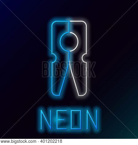 Glowing Neon Line Old Wood Clothes Pin Icon Isolated On Black Background. Clothes Peg. Colorful Outl