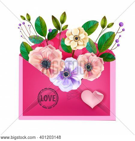 Love Vector Valentines Day Letter Illustration, Card With Pink Open Envelope, Blossom Anemone Flower