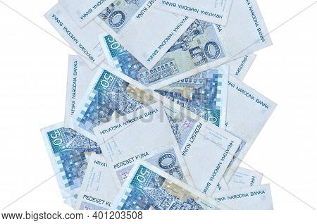 50 Croatian Kuna Bills Flying Down Isolated On White. Many Banknotes Falling With White Copy Space O