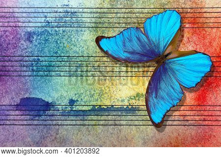 Morpho Blue Butterfly And Notes. Butterfly Melody. Photo Of Old Music Sheet In Blue Watercolor Paint