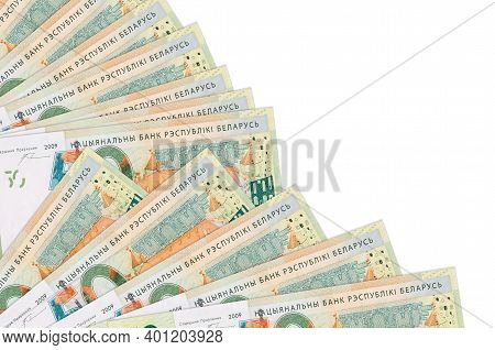 50 Belorussian Rubles Bills Lies Isolated On White Background With Copy Space Stacked In Fan Close U