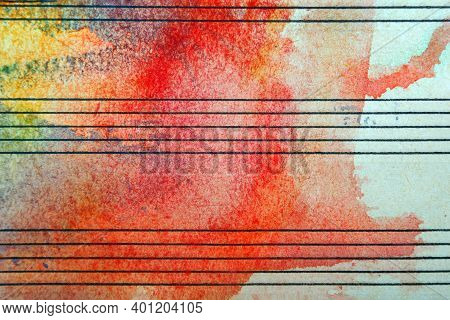 Old Music Sheet In Red Watercolor Paint. Abstract Red Watercolor Background.