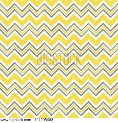 Seamless Ultimate Gray And Illuminating Yellow Zigzag Pattern, Vector Illustration. Chevron Zigzag P