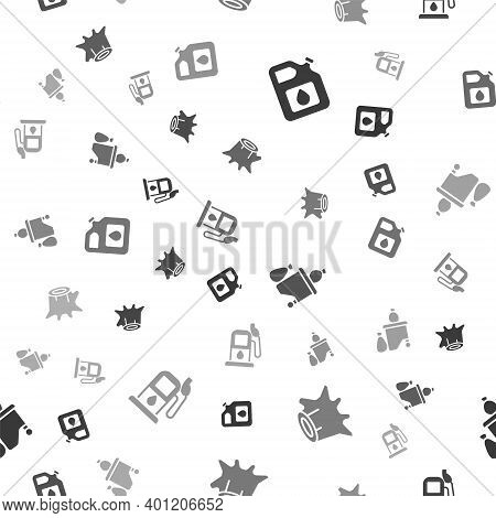 Set Canister For Gasoline, Tree Stump, Full Dustbin And Petrol Station On Seamless Pattern. Vector