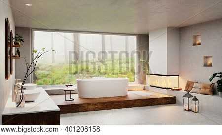 3d Render Of Luxury Modern Bathroom With Round Bathtub Next To Cozy Fireplace. Big Window With Fores