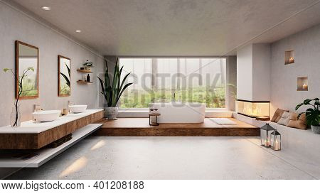 3d Illustration Of Modern Luxury Bathroom With Big Window And Forest View. Cozy Fireplace Next To Ro