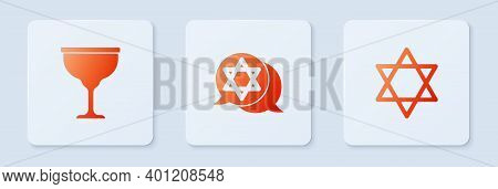 Set Star Of David, Jewish Goblet And . White Square Button. Vector