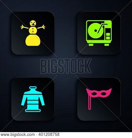 Set Festive Mask, Christmas Snowman, Sweater And Vinyl Player With Vinyl Disk. Black Square Button.