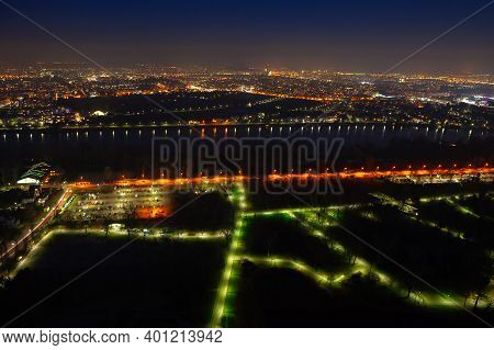 Night Aerial View Of The City . Vienna In The Nighttime
