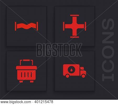 Set Plumber Service Car, Industry Metallic Pipe, And Toolbox Icon. Vector