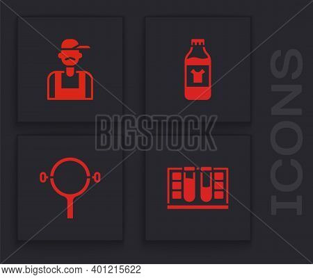 Set Test Tube With Water Drop, Plumber, Bottle For Cleaning Agent And Filter Wrench Icon. Vector