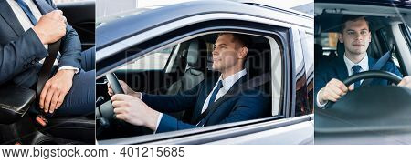 Collage Of Smiling Businessman Driving Auto And Locking Seatbelt, Banner.