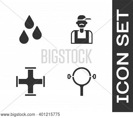 Set Filter Wrench, Water Drop, Industry Metallic Pipe And Plumber Icon. Vector