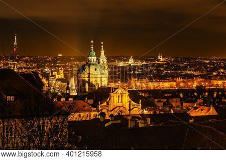 Night View Of Old Town With Hictorical Buildings,churches,towers In Prague,czech Republic.prague Eve