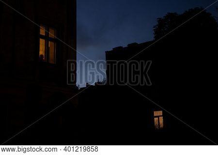 Black Buildings Silhouette Window Yellow Lights Evening Landmark Outdoor View, Solitude Atmospheric
