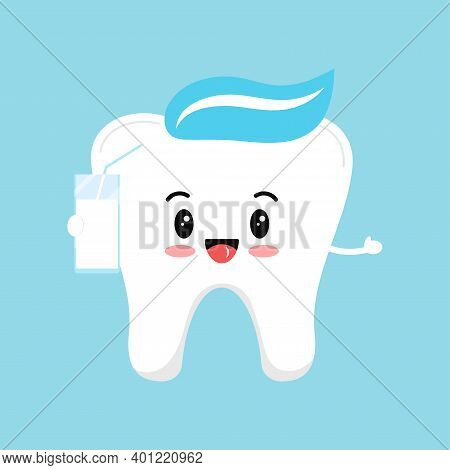 Cute Tooth Molar With Milk. Flat Design Cartoon Style Smiling Character With Healthy Drink Vector Il