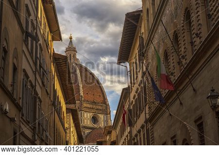 Florence Cathedral, Formally Named Cathedral Of Saint Mary Of The Flower, In The Piazza Del Duomo, F