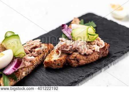 Toasts, Sandwiches With Tuna Delicious Healthy Food, Sandwiches With Canned Tuna And Cucumber, Quail