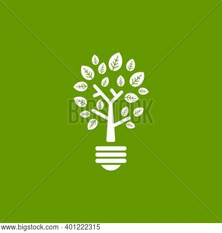 Green Contour Of Shining Electric Light Bulb With Three. Isolated On Green Background. Flat Outline